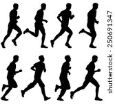 set of silhouettes. runners on... | Shutterstock .eps vector #250691347