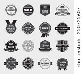 vector set of black and white... | Shutterstock .eps vector #250725607