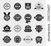 vector set of black and white... | Shutterstock .eps vector #250725607