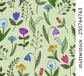 seamless floral doodle pattern. ... | Shutterstock .eps vector #250764763