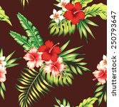 Hibiscus And Palm Leaves...