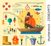 fisherman in a boat fishing ... | Shutterstock .eps vector #250824973