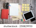 designer desk with few elements | Shutterstock . vector #250829953