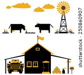 Farms Objects With Cows In Fla...