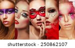 set of women's faces with... | Shutterstock . vector #250862107