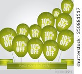 green balloons with sale... | Shutterstock .eps vector #250881517