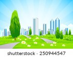green landscape with trees ... | Shutterstock .eps vector #250944547