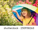 Happy Child In The Rain. Funny...