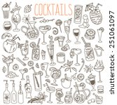 Set of various doodles, hand drawn rough simple sketches of various kinds of cocktails and soft drinks. Vector freehand illustration isolated on white background. | Shutterstock vector #251061097