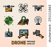 set of freehand drone icons  ... | Shutterstock .eps vector #251111863