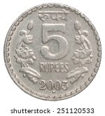 Five Silver Indian Rupees On A...
