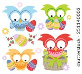 easter owls. vector illustration | Shutterstock .eps vector #251140003