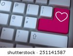 heart against pink enter key on ...   Shutterstock . vector #251141587