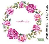 watercolor  wreath  frame ... | Shutterstock .eps vector #251145607