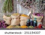 Healing Herbs In Hessian Bags...