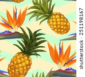 tropical exotic flowers and... | Shutterstock .eps vector #251198167