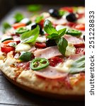 pizza with ham  pepperoni ... | Shutterstock . vector #251228833
