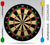 Dartboard With Darts. Vector...