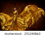 Woman Gold Dress  Lady In...