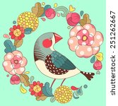 bright floral ornament with bird | Shutterstock . vector #251262667