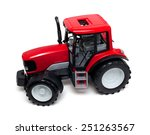 Red Tractor Toy Isolated On...