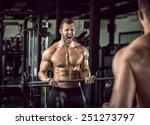 young adult bodybuilder doing... | Shutterstock . vector #251273797
