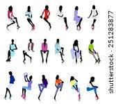 set of sitting fashion female... | Shutterstock .eps vector #251283877