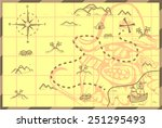 pirate map illustration of a... | Shutterstock .eps vector #251295493