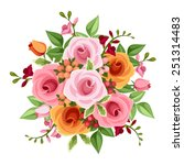 vector bouquet of pink and... | Shutterstock .eps vector #251314483