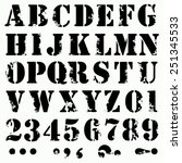 grunge full alphabet and numbers | Shutterstock .eps vector #251345533