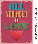 valentine's day poster. retro... | Shutterstock . vector #251370313