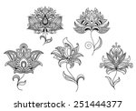 persian and indian paisley... | Shutterstock .eps vector #251444377
