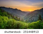 Stock photo sunset at the newfound gap in the great smoky mountains 251448913