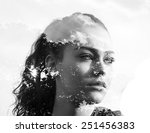 double exposure of beautiful... | Shutterstock . vector #251456383