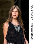 Small photo of BARCELONA - FEB 2: The top model Elisa Sednaoui walks the runway for the Mango collection at the 080 Barcelona Fashion Week 2015 Fall Winter on February 2, 2015 in Barcelona, Spain.