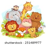jungle animals | Shutterstock .eps vector #251489977