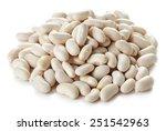 heap of white beans isolated on ... | Shutterstock . vector #251542963