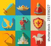 flat icons set   fairytale ... | Shutterstock .eps vector #251558227