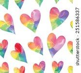 Rainbow Hearts. Watercolor...
