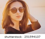 portrait of beautiful brunette... | Shutterstock . vector #251594137