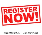 register now  red rubber stamp... | Shutterstock . vector #251604433