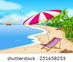 Illustration Of A Beach View...