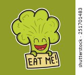 broccoli wants to be eaten | Shutterstock .eps vector #251701483