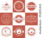 set of red and white vintage...   Shutterstock .eps vector #251851423