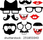set of black mustaches and lips ... | Shutterstock .eps vector #251853343