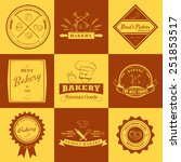 set of vintage bakery labels ... | Shutterstock .eps vector #251853517