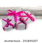 heart shaped gifts on wooden... | Shutterstock . vector #251854207