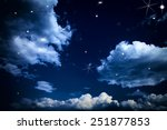 nightly sky with large moon | Shutterstock . vector #251877853