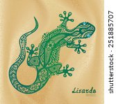 Vector Drawing Of A Lizard Wit...