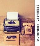 vintage typewriter and... | Shutterstock . vector #251955853